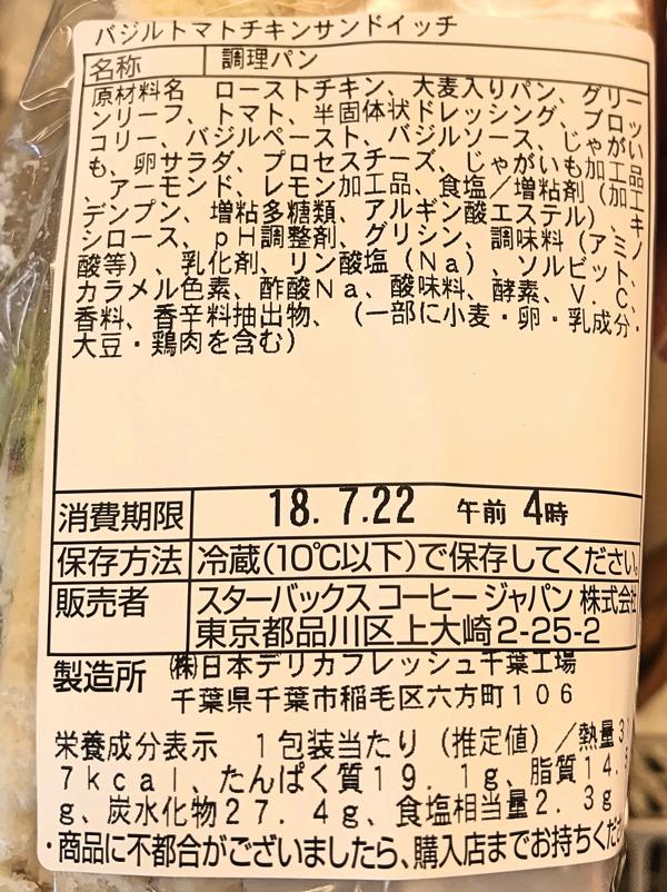 「バジルトマトチキンサンドイッチ」原材料名と栄養成分表示