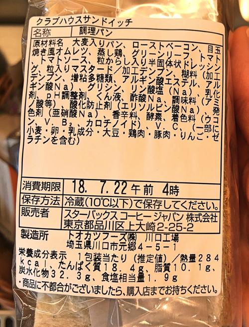 スタバ「クラブハウスサンドイッチ」原材料と栄養成分表示