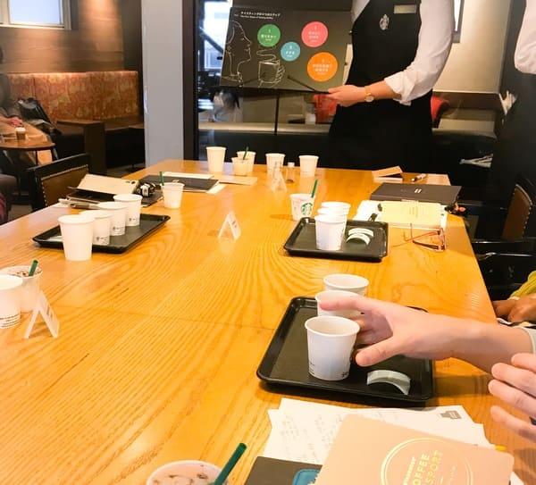 コーヒーのテイスティングの方法を教わります