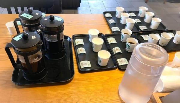 セミナーが進み、用意されるテイスティング用のコーヒー写真